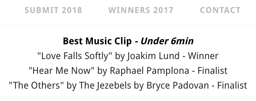 Joakim Lund — Award Winner — Best Music Clip — ORION IFF AUSTRALIA 2017