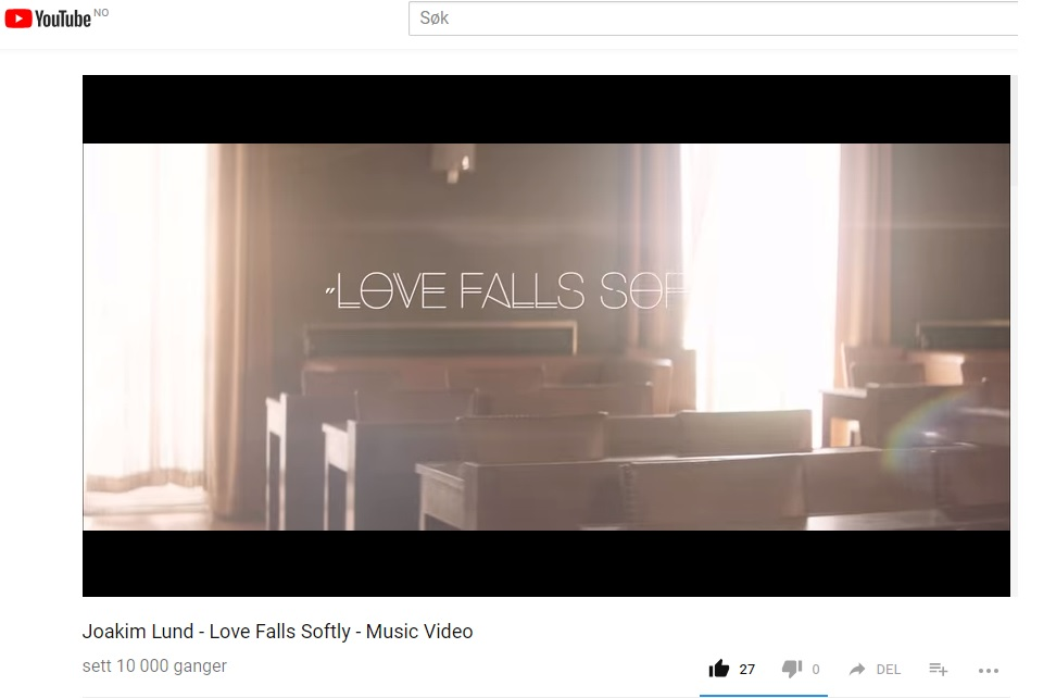 Love Falls Softly - Joakim Lund - 10 000 views on YouTube
