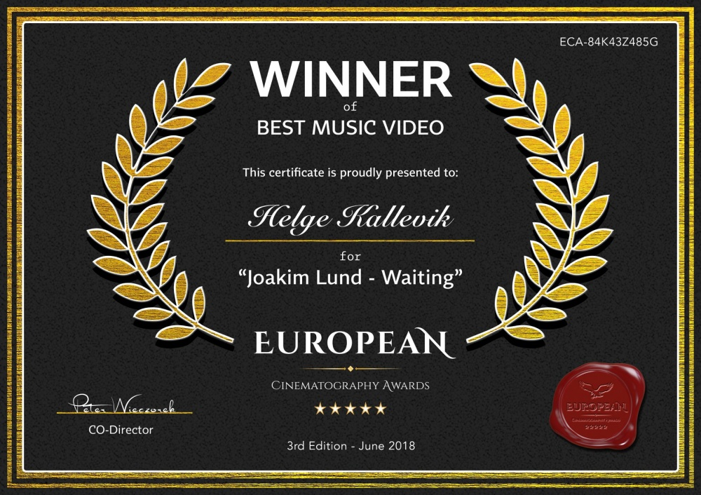 WINNER OF BEST MUSIC VIDEO - EUROPEAN CINEMATOGRAPHY AWARDS - WARSAW