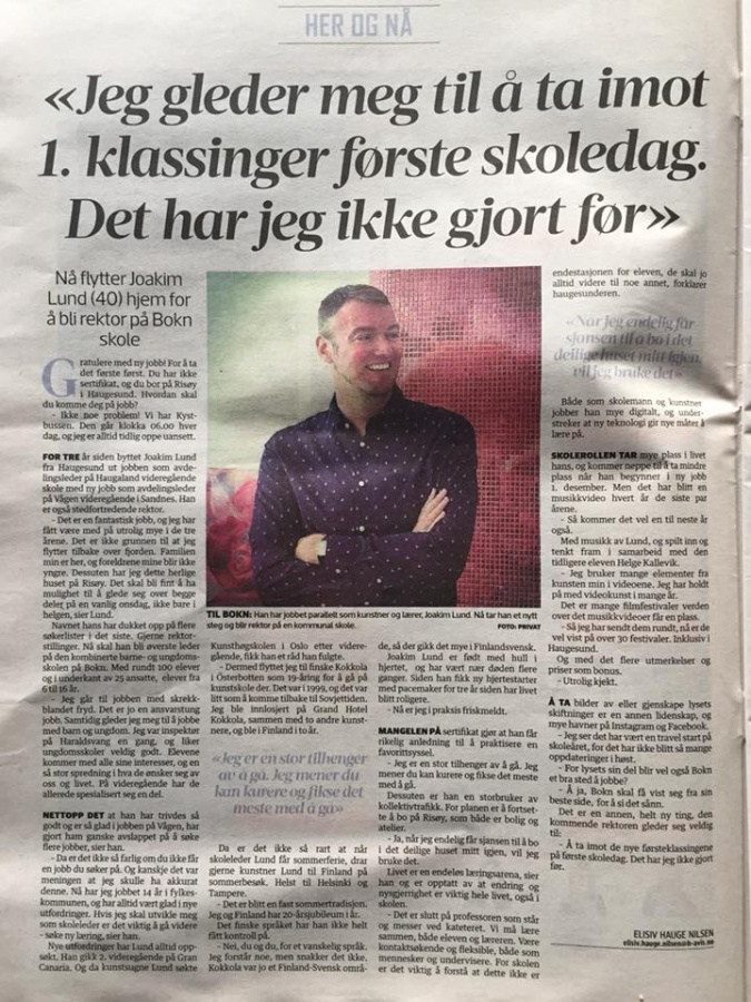 Joakim Lund - Interview in Haugesunds Avis (Norwegian Newspaper)